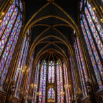 The Sainte Chapelle, inside stained-glass late afternoon with beautiful colors