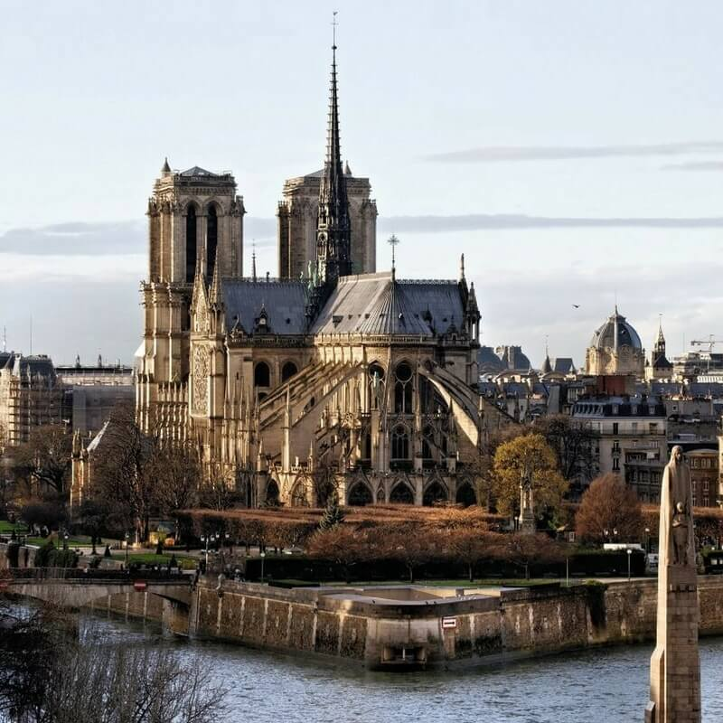 Notre Dame Cathedral seen from behind