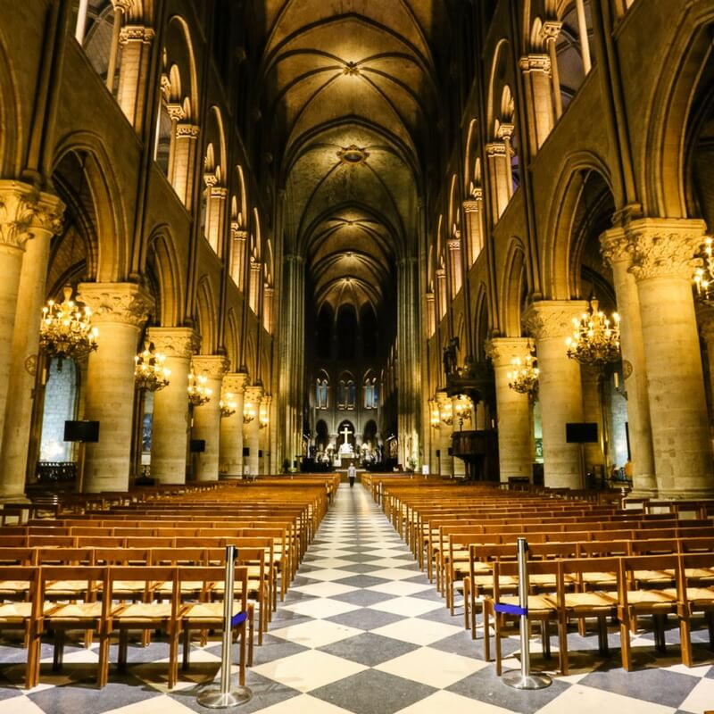 Inside view of Notre Dame Cathedral with no people inside, empty cathedral
