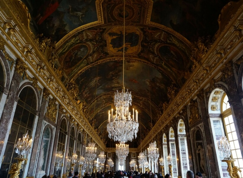hall of mirrors at Versailles; day trip to versailles from paris
