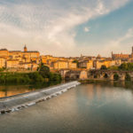 Albi at sunset: Tarn river and old city.