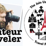the logo of the Amateur Traveler podcast and the Join Us in France Travel Podcast