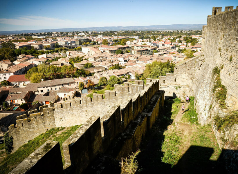 the modern city of carcassonne france seen from the ramparts