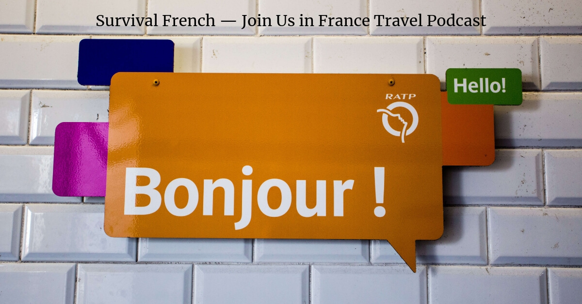 "Sign that reads ""Bonjour !"" that greets people as they exit their flight into France at the Paris airport"