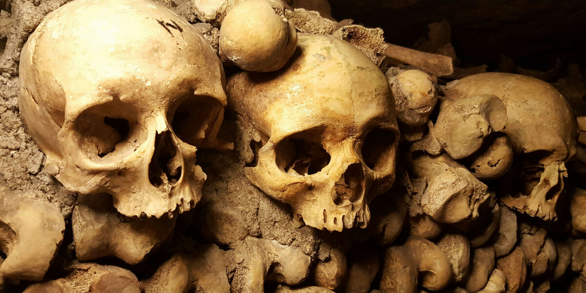 Stacks of bones in the Catacombs and the Montparnasse Neighborhood