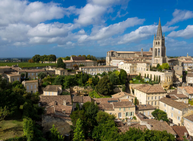 Saint-Émilion village view with blue sky