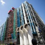 the exoskeleton of the centre georges pompidou, colorful tubes wrapped around a large building