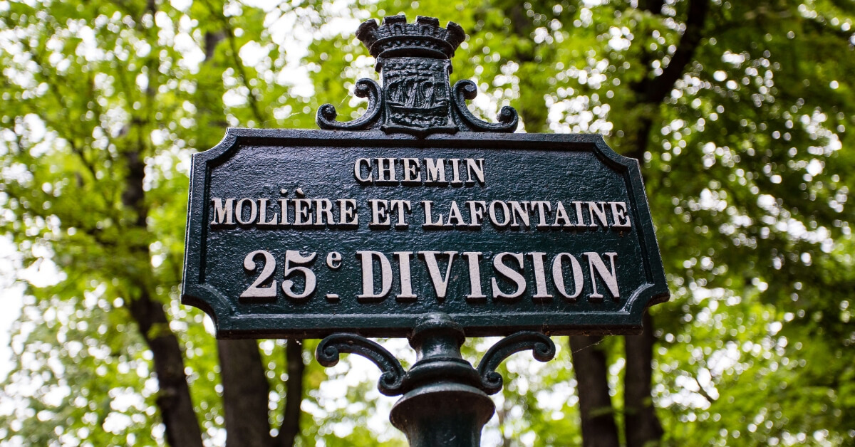 pere lachaise sign 25th division where moliere and lafontaine are buried