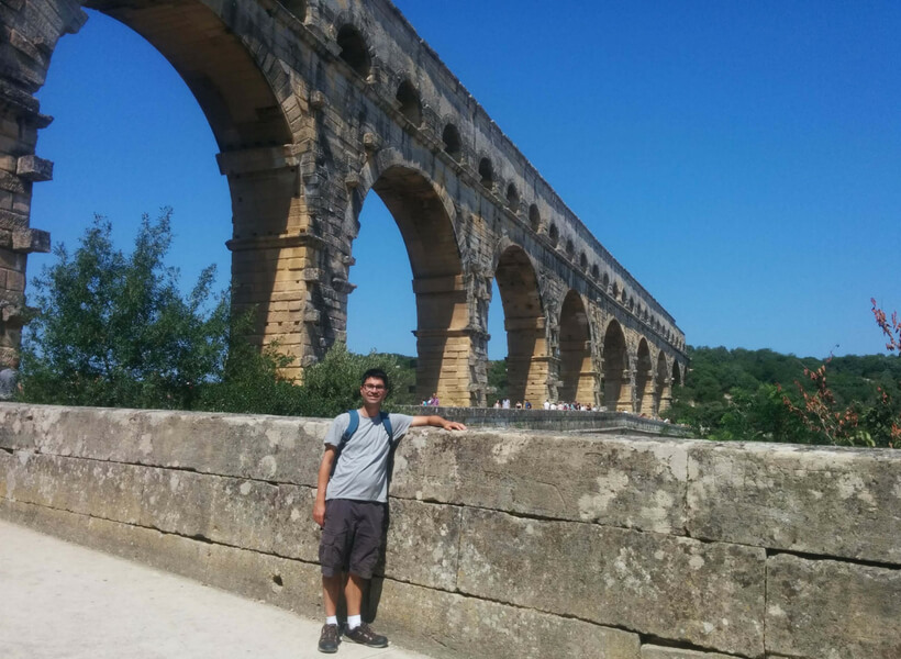 Matt in front of the Pont du Gard: Provence and Chamonix episode