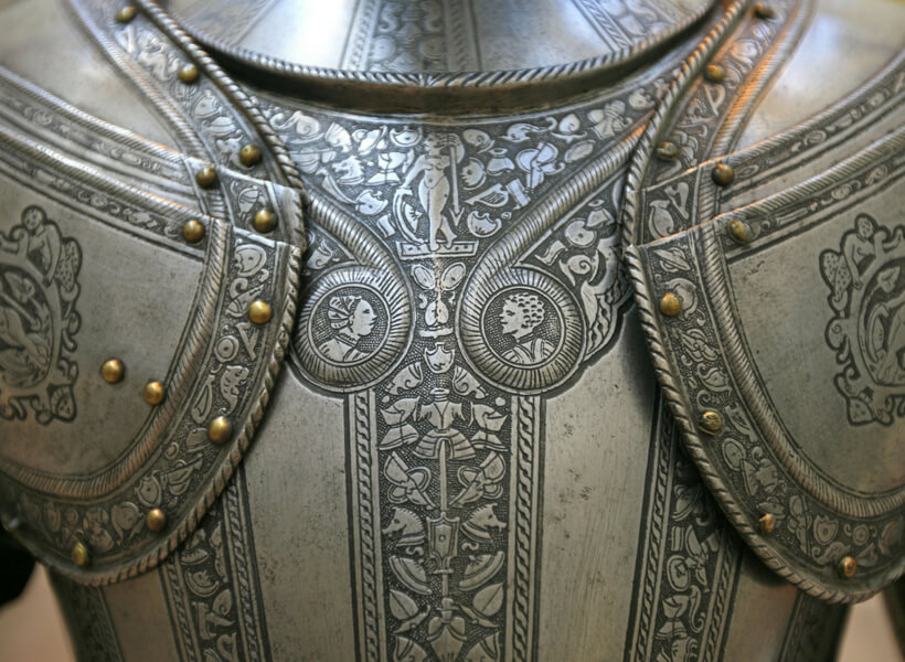 detail of a highly decorated medieval chest protection: battle of agincourt episode