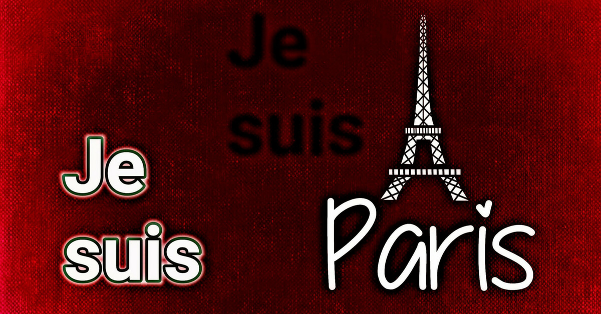 Je Suis Paris red poster with eiffel tower: terror attacks in france episode