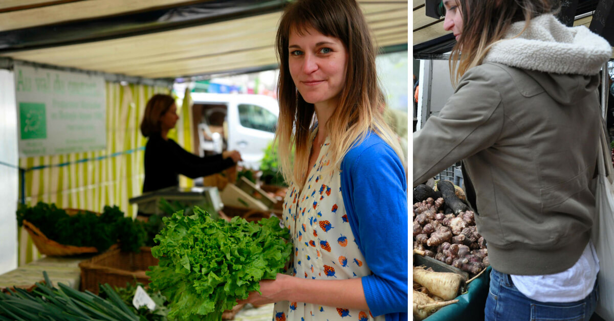 Emily Dilling at the food market in Paris