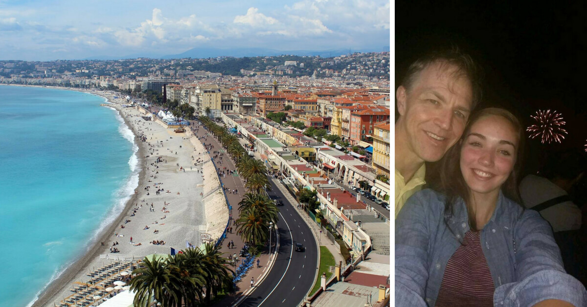 View of Nice, France and picture of Steve and his daughter during the fireworks in Nice on the day of the attack