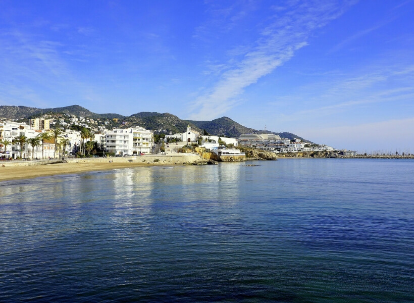 the mediterranean and the city of sitges, spain