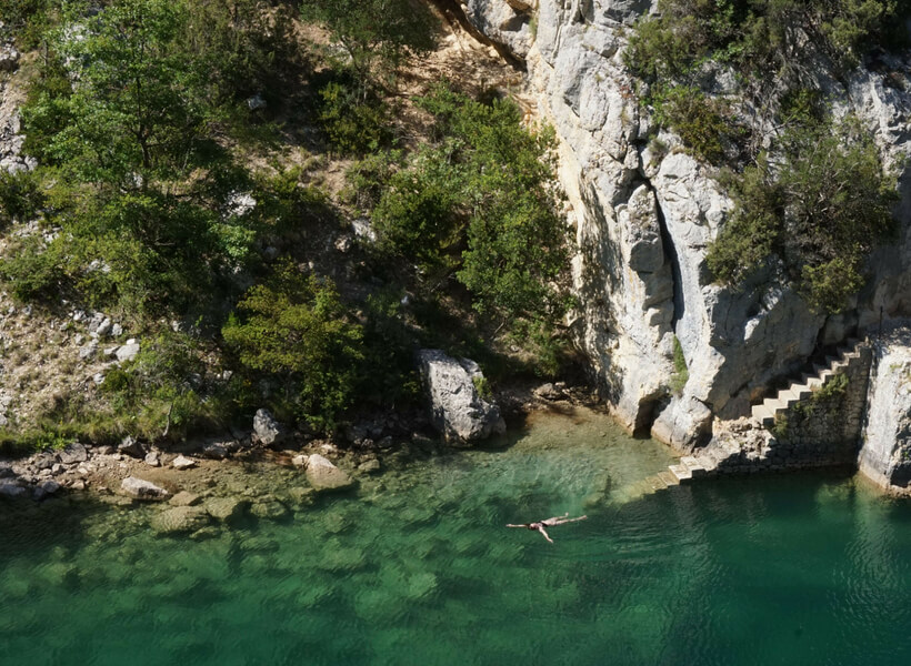 Katie swimming during their visit to the Verdon Gorge, Provence and Carcassonne