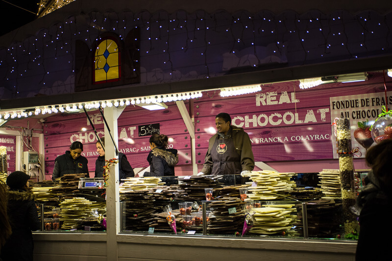 chocolate vendor at the paris christmas market