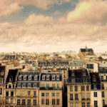 Paris seen from the rooftops with quaint apartment houses