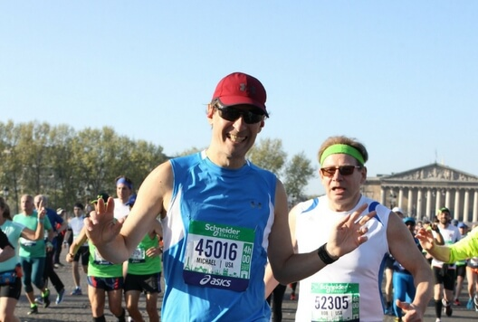 First Time in Paris and Running the Paris Marathon, Mike running