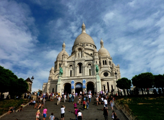 the steps of the sacré coeur in paris with the basilica on top