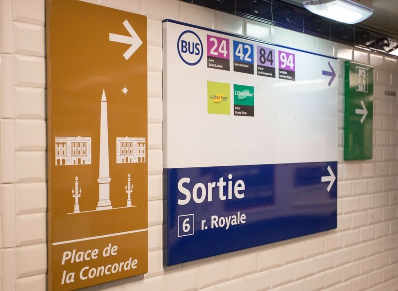 signs in the paris metro; 10 tips for getting around in paris