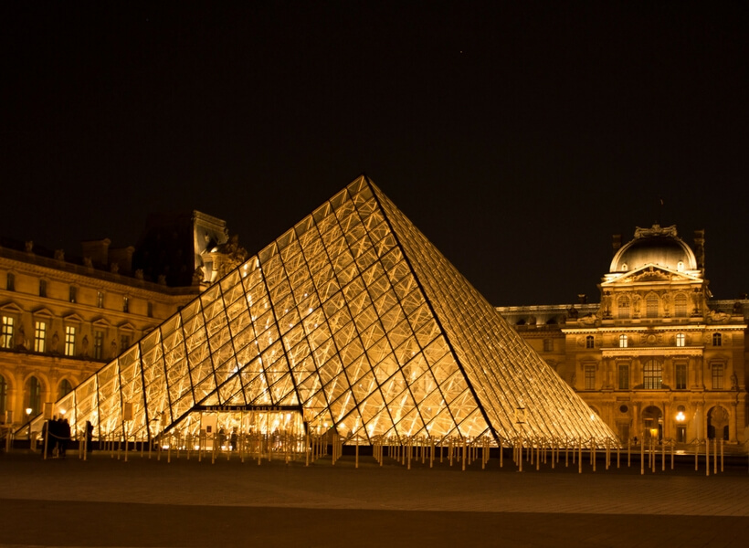 louvre and pyramid at night; things to do in paris for first time visitors