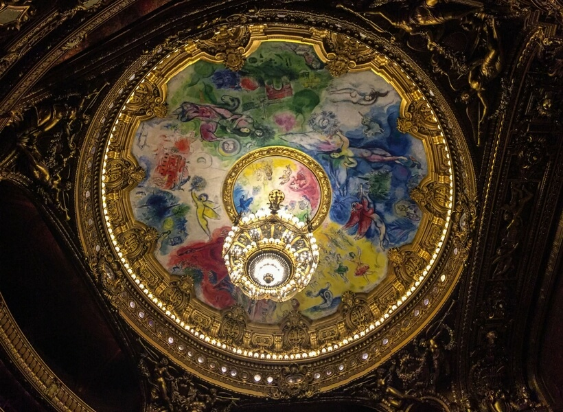 Chagall ceiling at the Opera Garnier; 10 things to do in paris for first time visitors