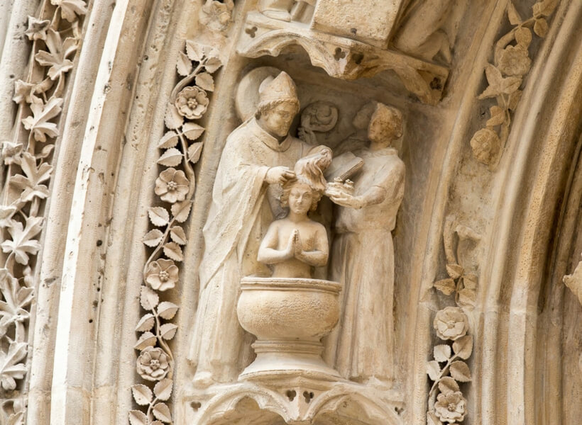 Notre Dame Cathedral Stories show notes; Baptism depicted in stone