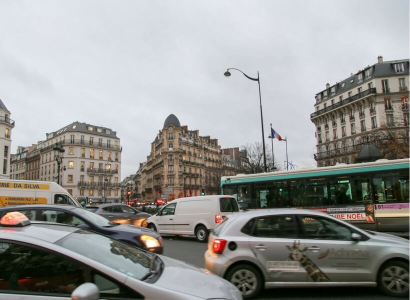 Trafic jam in Paris, avenue de Clichy; first time in Paris