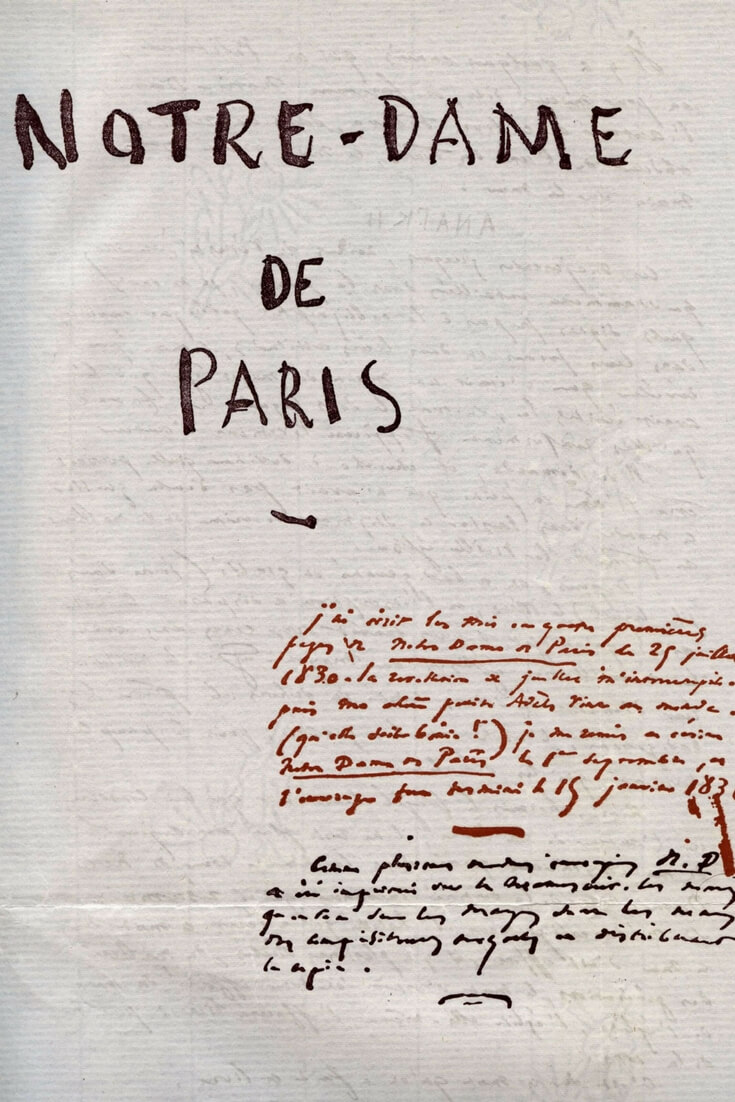 Original hand-written cover page for the novel manuscript by Victor Hugo; the Hunchback of Notre Dame