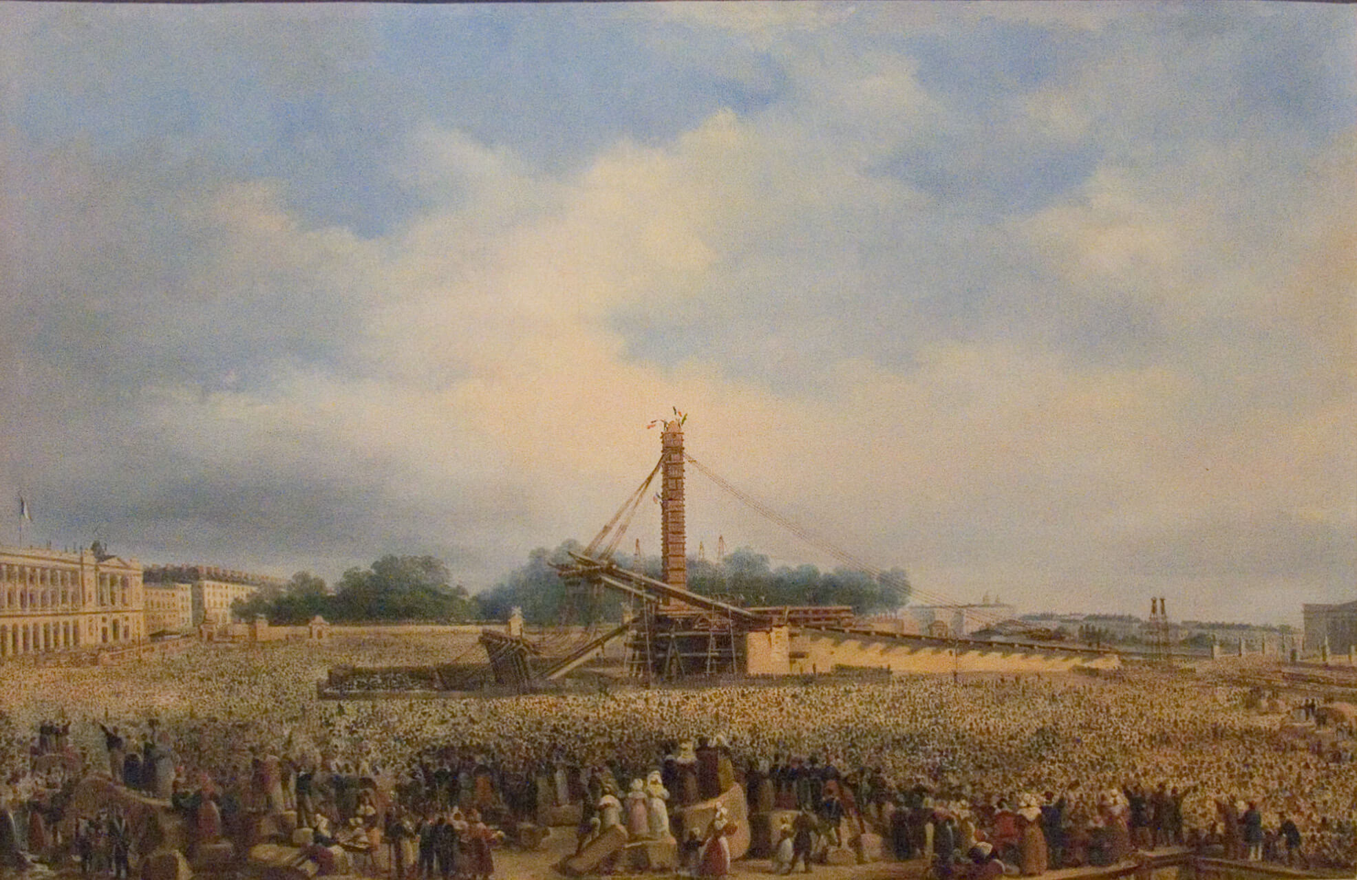 Painting showing the raising of the Luxor Obelisk on the place de la Concorde