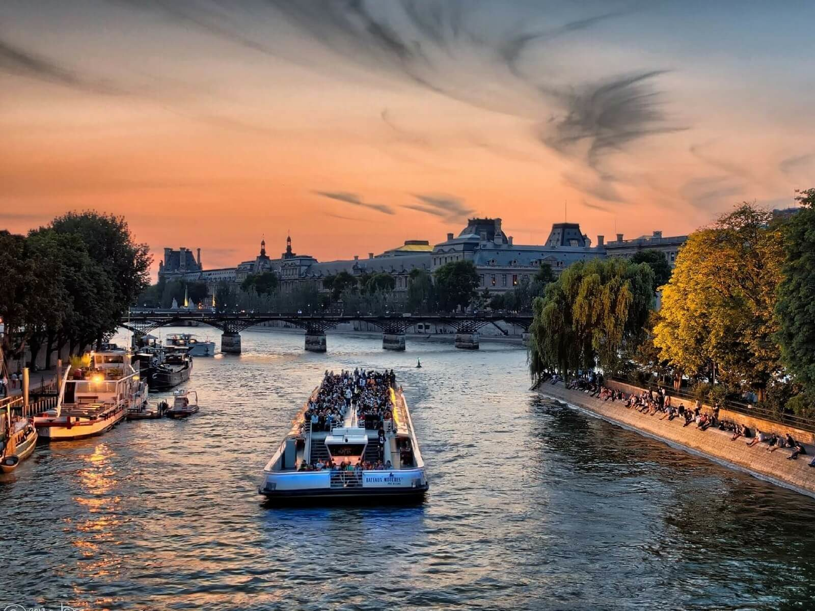 river Seine and bateau mouche; one day in paris