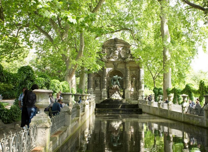 Luxembourg Gardens Medici fountain and reflecting pond