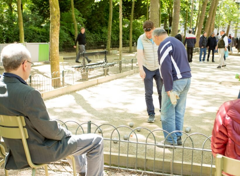 Pétanque game at the Luxembourg Gardens