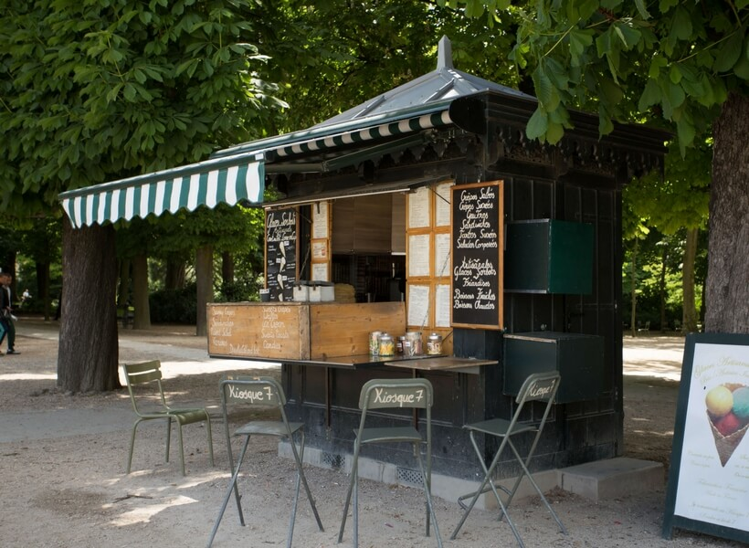 Luxembourg Gardens café with chairs