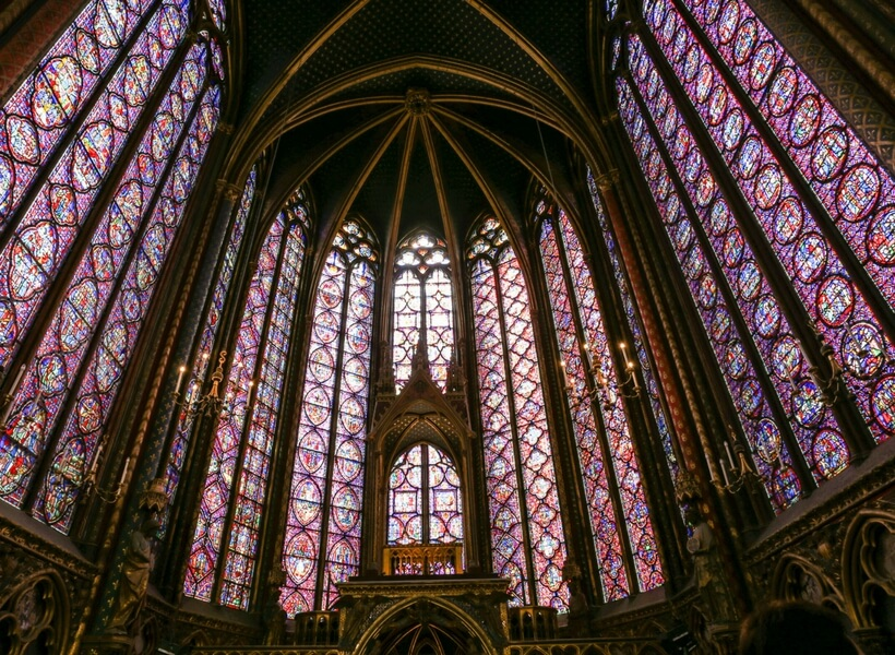 interior of the Sainte Chapelle; paris highlights