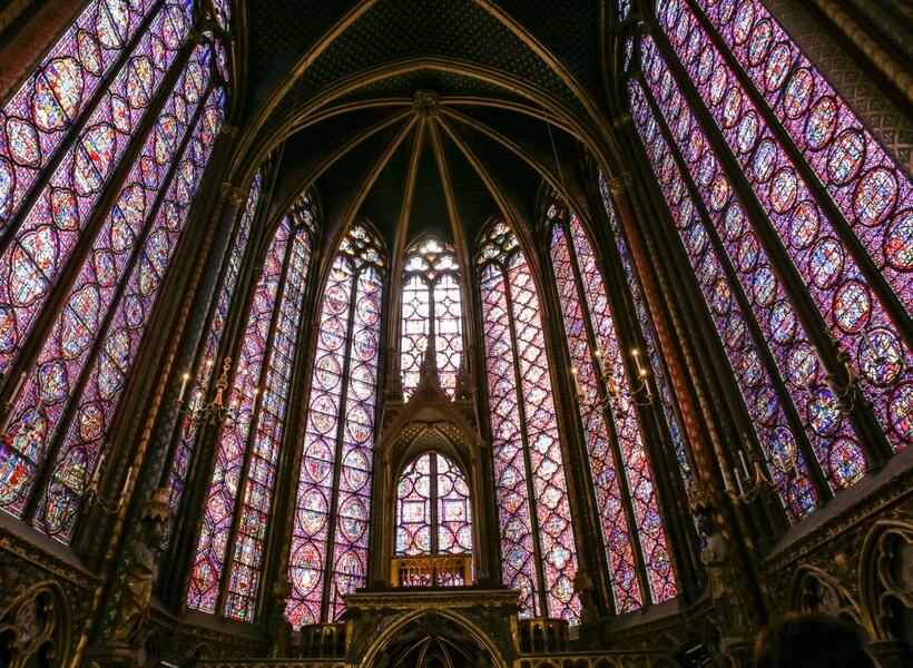 interior of the Sainte Chapelle; paris highlights