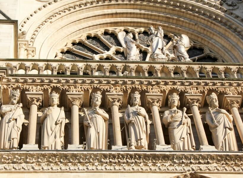 kings of the old testament on the facade of notre dame; paris highlights