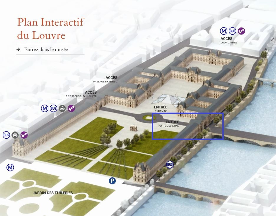 Graphic that shows the layout of the Louvre and where the Porte des Lions Entrance is located; layover in Paris