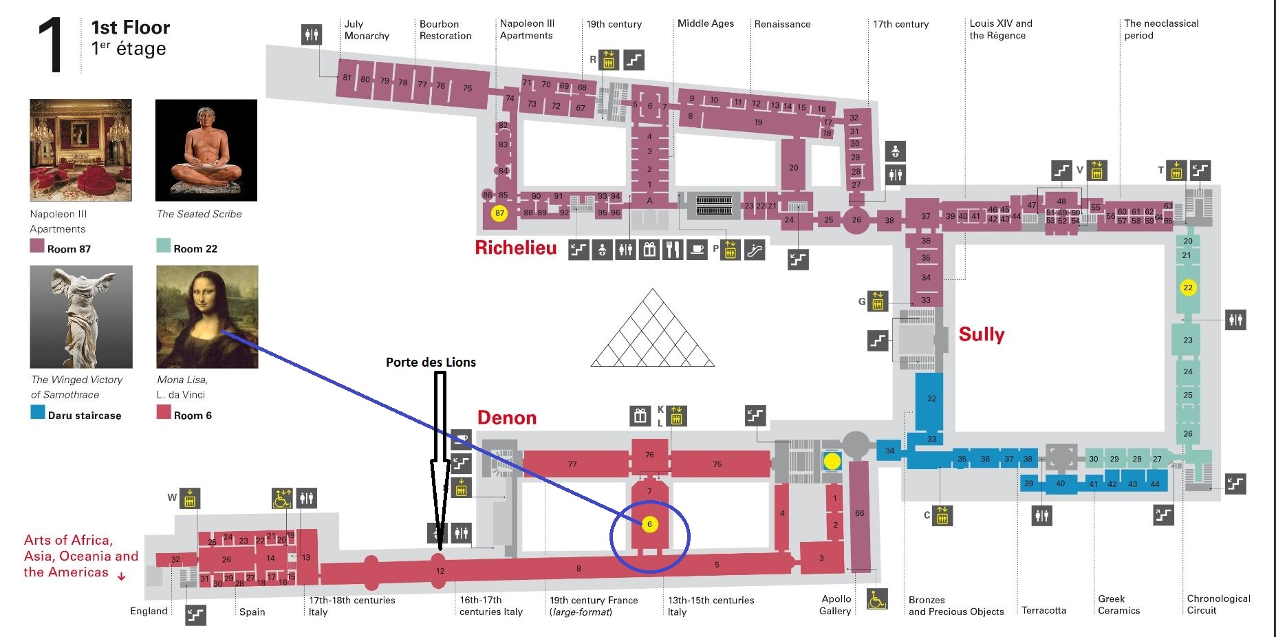 Map that shows how to find the Mona Lisa quickly in the Louvre; layover in Paris