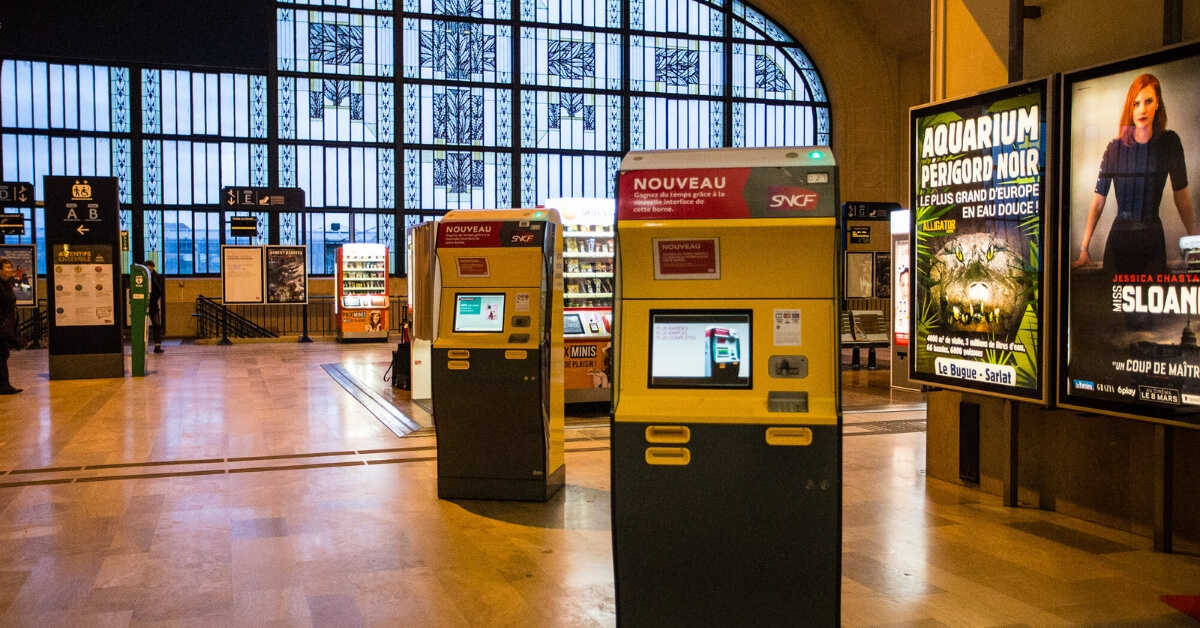 ticket machines at the train station in Limoges