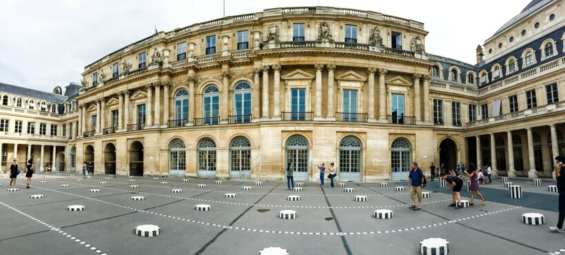 Overall view of the Colonnes de Buren at the Palais Royal