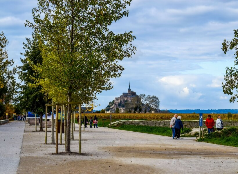mont saint michel seen from a a distance; is it possible to visit the mont saint michel as a day trip