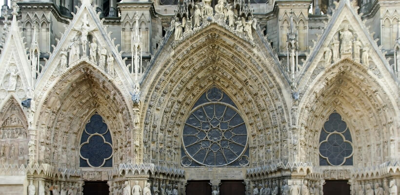 Portal of Reims Cathedral; day trip from Reims to Paris