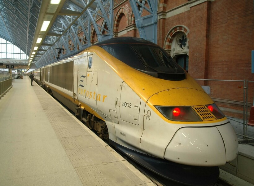 eurostar train stopped at the platform; trains in france