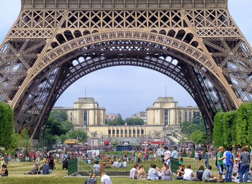 Visiting Paris in August: people hanging out under the eiffel tower on a sunny day