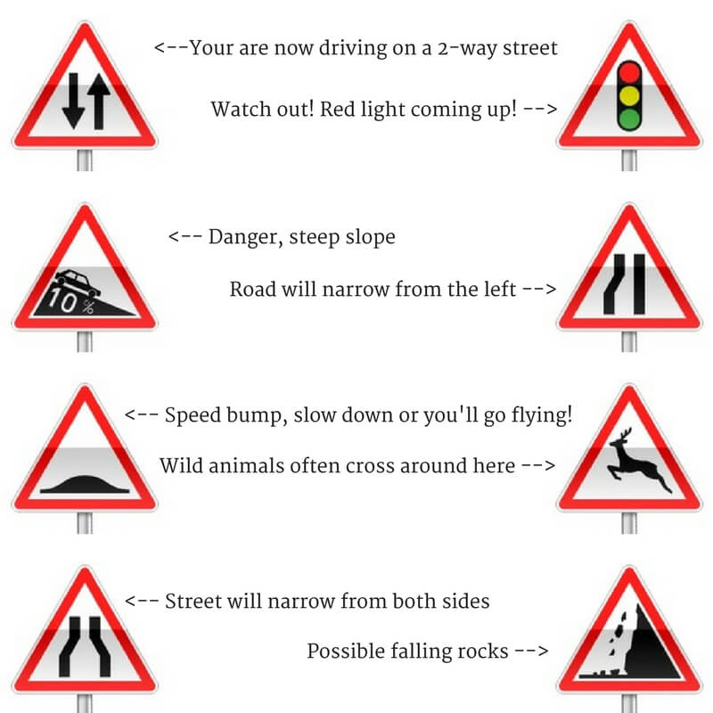 danger signs you need to know about to drive in france