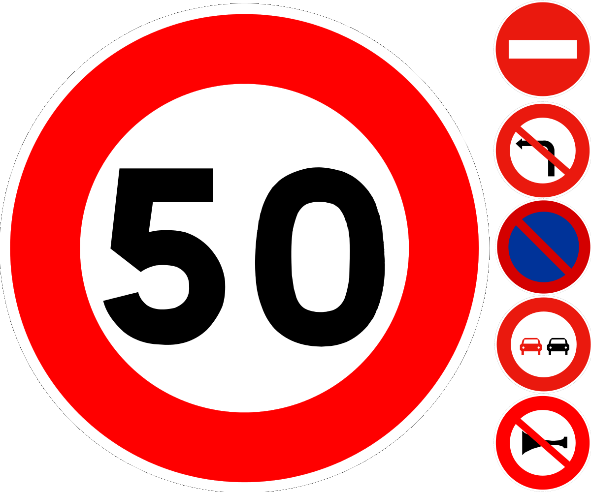 signs of interdiction on french roads: red circular signs