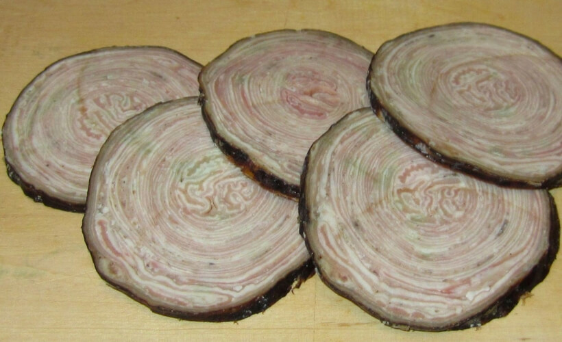 sliced andouilles with their distinctive circular pattern