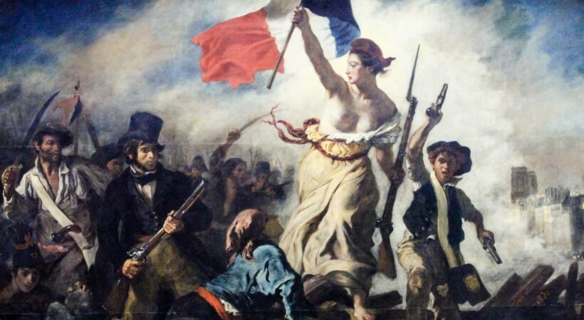 painting by Delacroix called La liberté guidant le peuple. It pictures a bare breasted woman carrying a French flag and leading the people to revolt