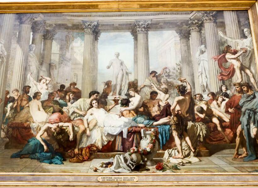 large painting by Thomas Couture called LEs romains de la décadence